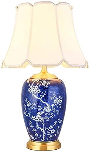 JAKWBR Lámpara de Noche de cerámica de cerámica de Estilo Chino Lámpara de Mesa de Porcelana Azul y Blanca E27 Dormitorio de la Sala de Estar Decorada la lámpara de Escritorio.