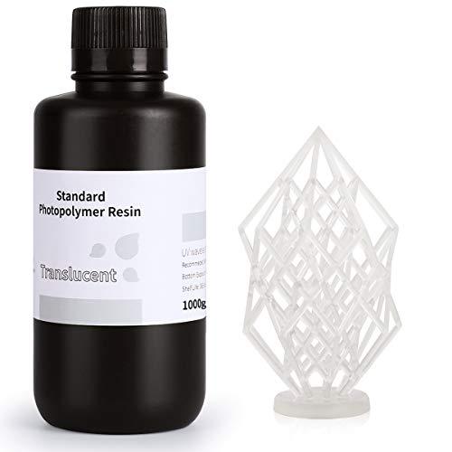 ELEGOO 3D Rapid Resin LCD UV-Curing Resin 405nm Standard Photopolymer Resin for LCD 3D Printing Translucent 1000g