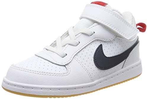 Nike Court Borough Mid (Td) pantoffels voor jongens, Wit Wit Wit Obsidian Univ Red Gum Lt Brown 107, 19.5 EU