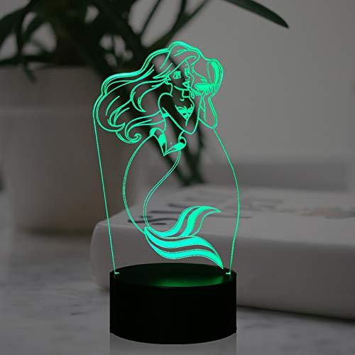 Little Mermaid - Lámpara de noche con diseño de sirena, decoración de habitación de niña de princesa, 7 colores