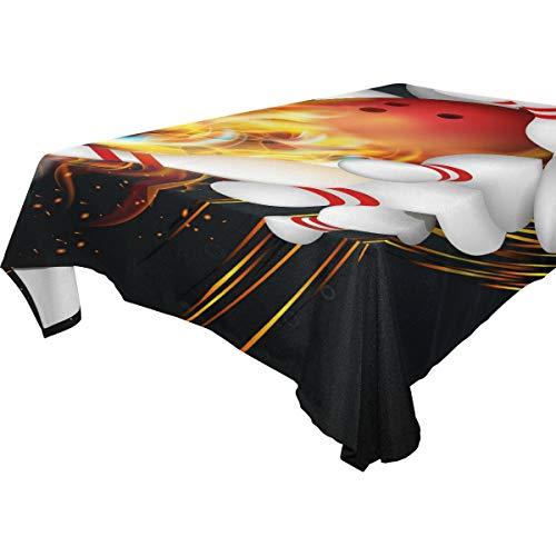 Hunihuni quadratische Tischdecke, Fire Bowling Ball Polyester Tischdecke Abdeckung Tischwäsche für Küche Esszimmer Party Dekor Outdoor Picknick, 137,2 x 137,2 cm, mehrfarbig, 54x72(in)