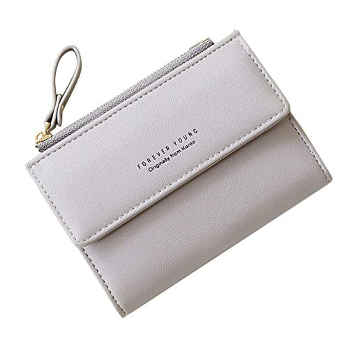 BCVBFGCXVB Anti-Theft Two Folding Women Wallet Fashion Simple Ladies Purse Multi-Function Hasp Girl Wallet Durable Card Holder(grey)