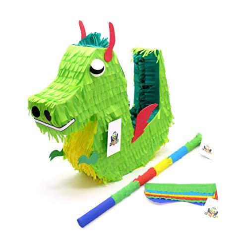 Nislai® Drachen Dino Pinata Set | Ideal für die Drachen Dino Party | Pinata Geschenk | Pinata Geburtstag | Drachen Geburtstag Party | inkl. Pinata & Augenmaske & Stock