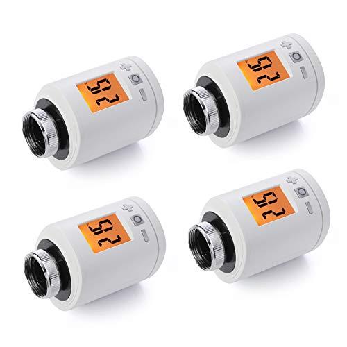 4er Set Spirit ZigBee Heizkörperthermostat, bis 30 {5f806592470dd7e04c764a2cfa8e5bbceede90e953fc27ba88e0ab79fe772eb2} Heizkosten sparen, über Zigg Bee Funk & Alexa steuerbar, Heizungsthermostat inkl. Adapter + Batterien, Smarthome-Zubehör