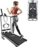 Foldable Treadmill, Running Machine for Small Space, No-electric Compact & Inclined Jogging Walking Machine with LED Display, Straight and Curved Armrests, Tablet Stand for Home Gym Office Cardio