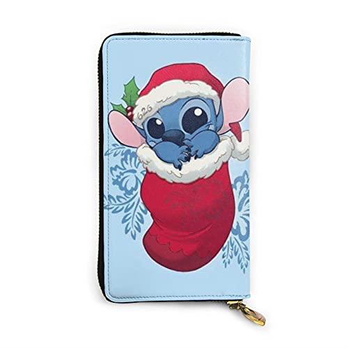 Cartoon Anime Lilo Baby Stitch Wallet RFID Cuero auténtico Cartera con cremallera para tarjetas titular organizador bolsa de embrague