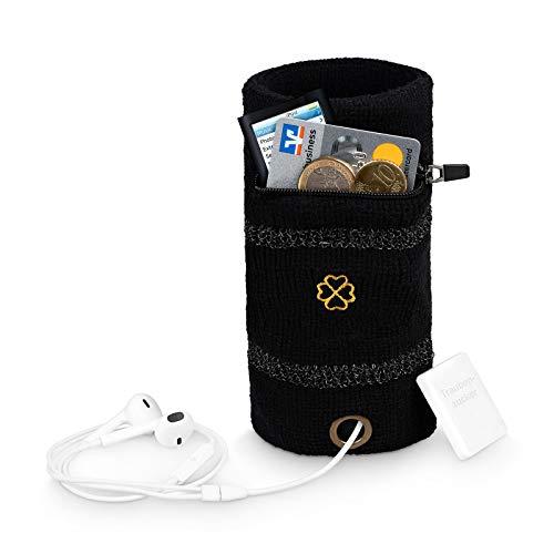 Lucky Humans® 2er Set Hochwertiges schwarzes Schweißband mit Reißverschlusstasche, Handgelenktasche, Pulswärmer Kinder, Armschweißband mit Tasche, Schweissband Handgelenk, Armschweissband/Wristband
