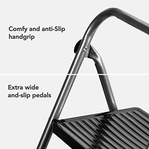 ACSTEP Folding Step Stool- 2 Step Ladder with Anti-Slip Pedal, Hold Up to 330LBS Lightweight and Multi-Use for Household and Kitchen Small 2 Step Stool Steel Grey