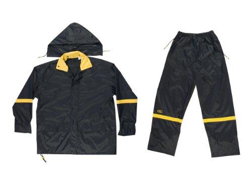 CLC Custom Leathercraft Rain Wear R103L Black Nylon 3-Piece Rain Suit, Large