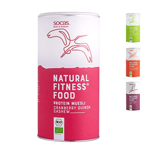 SOCAS Bio 30% Protein Müsli - Bio Low Carb Müsli ohne Zuckerzusatz Made in Germany - 420g Sojaflocken Müsli – Geschmack: Cranberry Quinoa Cashew