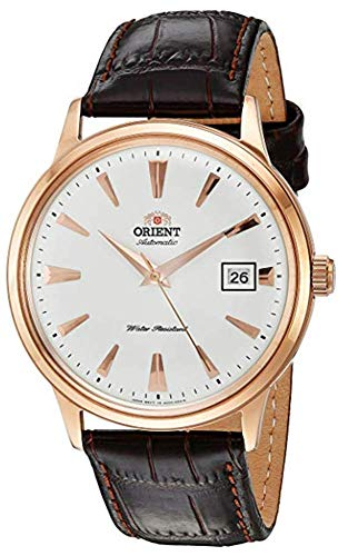 Orient Men's 2nd Gen. Bambino Ver. 1 Stainless Steel Japanese-Automatic Watch with Leather Strap, Brown, 21 (Model: FAC00002W0)