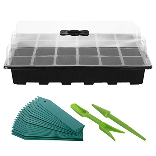 ANBET 3 Satz Pflanzkeimschale Sämling Starter Tray Mini-Propagator mit Feuchtigkeitskuppel, Pflanzenanhänger und Handwerkzeug (24 Zellen pro Tablett)