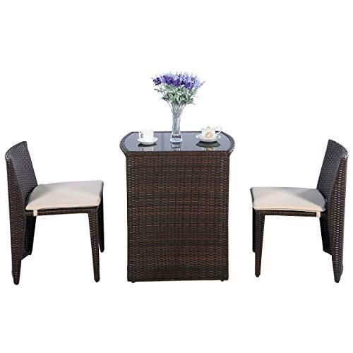 GOPLUS Gartenmöbel, Rattan Sitzgruppe mit Sitzkissen, Rattantisch und Stuhl, Rattanmöbel Balkon, 2 Stühle & 1 Tisch mit Glasplatte, Braun