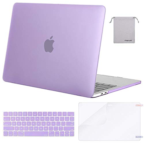 MOSISO MacBook Pro 15 inch Case 2019 2018 2017 2016 Release A1990 A1707, Plastic Hard Shell Case&Keyboard Cover&Screen Protector&Storage Bag Compatible with MacBook Pro 15 Touch Bar, Purple