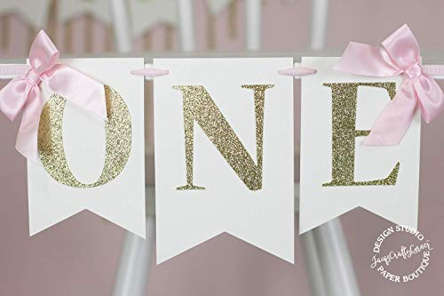 Pink and Gold First Birthday High Chair Banner With Bows
