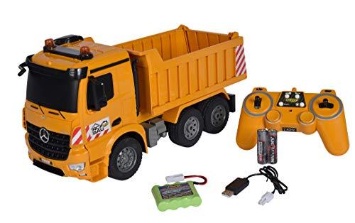 Carson 500907284 1:20 Muldenkipper 2.4G 100% RTRFerngesteuertes Fahrzeug, Baufahrzeug mit Funktionen Licht und Sound, inkl. Batterien und Fernsteuerung, orange