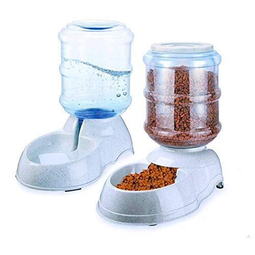 Automatic Self-Dispensing Pet Feeder and Water Dispenser - Zento Deals Premium Quality Self-Dispensing Gravity 3.5 liters 1 Gallon Large Capacity Pet Feeder, 3.7 Liters Capacity Pet Waterer