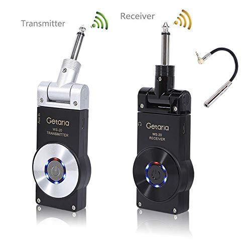 Getaria Sistema di Chitarra Wireless Trasmettitore e Ricevitore 2.4G con Batteria Ricaricabile per Chitarra Elettrica e Basso Elettrico con Cavo Audio Stereo(10inch) (WS-20-2CA)