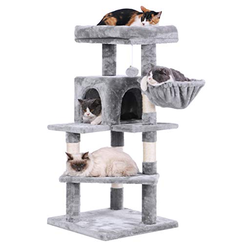 BEWISHOME Cat tree Tower with Top Plush Perch MultiLevel Cat Condo Sisal Scratching Posts Cat Play House Activity Center Cat Furniture MMJ12L