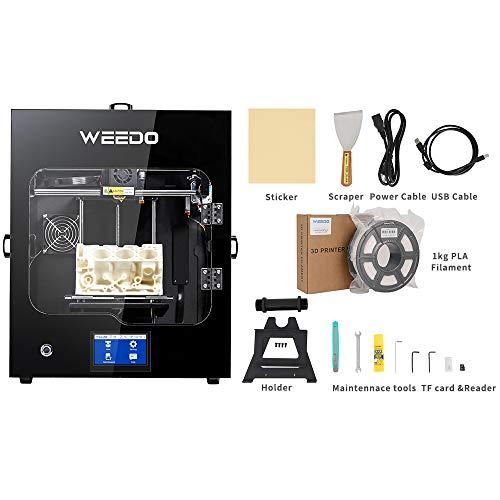 WEEDO F152S 3D Impresora Soporte (PLA/ABS/TPU/PC/NYLON) Materiales de impresión, Totalmente cerrado, (200X185X195mm) Cama de vidrio extraíble con calefacción, apagado automático, nivelación de cama automática, detección de desconexión de filamento incorporado