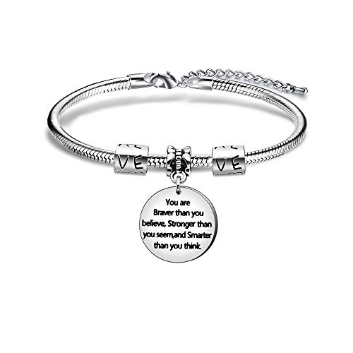 """Angelra Armband für Damen""""You are braver than you believe, Stronger than you seem and Smarter than you think"""" Armbander Geschenk für Tochter, Schwester"""