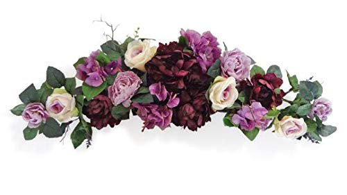 32' Egg Plants Rose/Peony Swags - Floral swags Wall Decor for Wedding Party Home Garden, Wedding Arch Garden Wall Decoration, Weddings, Purple, Lavender