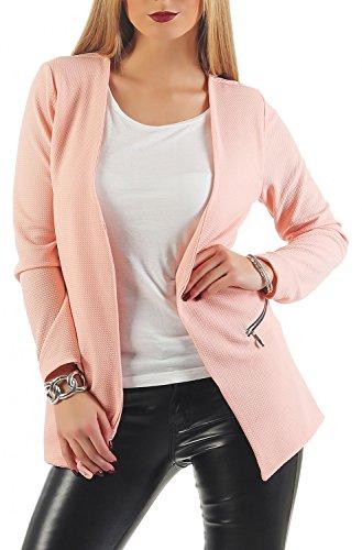 Damen lang Blazer mit Taschen (501), Farbe:Rosa, Blazer 1:42 / XL