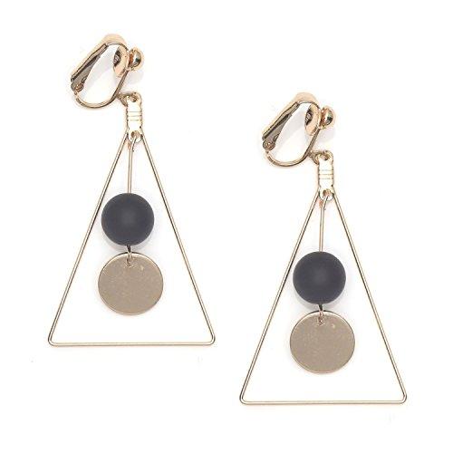 Idin Jewellery - Triangolo color oro con orecchini a clip con perline nere e pendenti a goccia