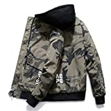 COTZFOZ Spring Men Camo Military Jacket Bomber Mens Camouflage Hip Hop Jackets and Coats Army Green L