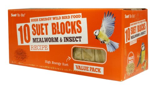 Suet To Go Mealworm & Insect Block Value Pack 10pk