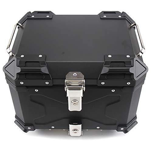 Universal Baúl de Moto Scooter Maleta 45L con Llaves y Accesorios para Motocicletas, Scooters, Ciclomotores,Negro
