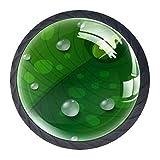 Tiradores de agua en hojas verdes para cajón, tocador, tocador, aparador, tirador con tornillos, 4 unidades