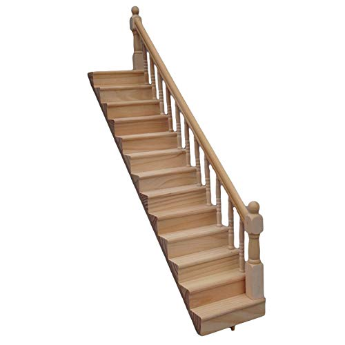Escalera de Madera en Miniatura sin Pintar con Pasamanos para Muebles de Casa de Muñecas Accesorios para Decoración de Casa de Muñecas 1: 12