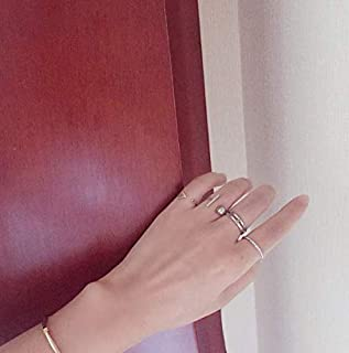 Fashion Punk Silver Joint Ring Set 4 Pcs, Punk Joint Knuckle Ring Sets Finger Rings Nail Midi Ring Set