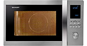 Sharp R-982STWE Comptoir Micro-onde combiné 42L 1000W Acier inoxydable micro-onde - Micro-ondes (Comptoir, Micro-onde combiné, 42 L, 1000 W, boutons, Rotatif, Acier inoxydable)