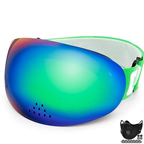 AOUVIK Gafas de esquí Profesionales, Doble Capa, protección UV400, Gafas de esquí nasales antivaho a Prueba de Viento, Gafas de Snowboard antivaho,Verde