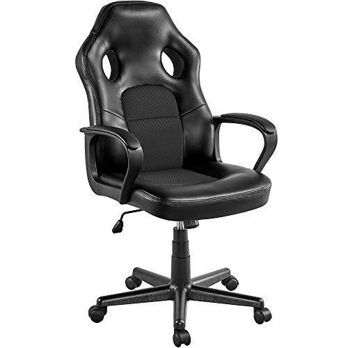 Yaheetech Racing Stuhl Bürostuhl Gaming Stuhl Chefsessel Kunstleder Ergonomisch Drehstuhl Schreibtischstuhl Sportsitz, gepolsterte Armlehnen, Wippfunktion, Lift SGS geprüft, bis 150 kg belastbar