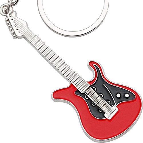 keepdrum E-Gitarre Schlüsselanhänger aus Metall Rot