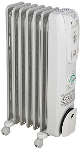 DeLonghi Oil-Filled Radiator Space Heater, Quiet 1500W, Adjustable Thermostat, 3 Heat Settings, Energy Saving, Safety Features, Nice for Home with Pets/Kids, Light Gray, Comfort Temp EW7707CM