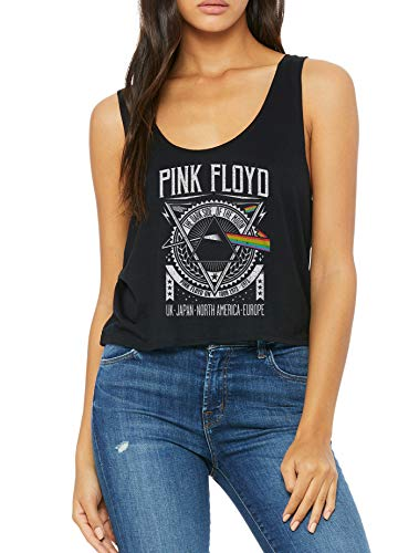 LaMAGLIERIA Tank Top Mujer Boxy Fit Pink Floyd PF0001 - Camiseta sin Mangas Rock, S, Negro