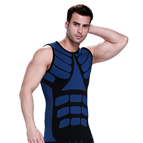 ZEROBODYS Mens Außen Schnell Trocknend Weste Sports Vest Laufkleidung SS-M08 (M, Blau)