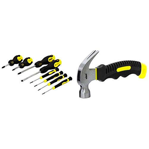 Rolson 28852 Screwdriver Set - 8 Pieces & 10019 Stubby Claw Hammer