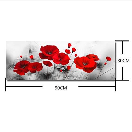 MULMF Mode Wandbilder Home Flower Theme Gemälde Wandkunst Für Hauptdekorationen Gemälde Blumenmalerei Leinwand-30X90 cm Kein Rahmen