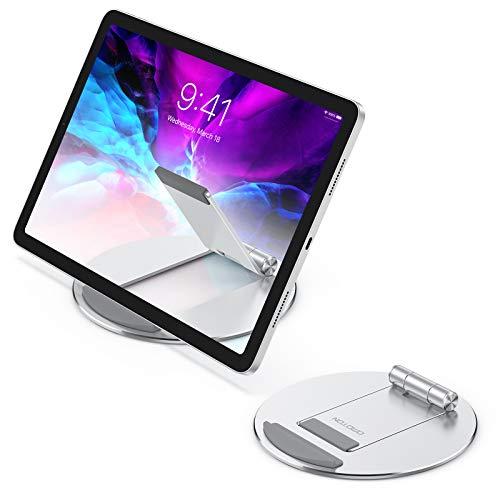 OMOTON Tablet Ständer Tragbare, Universal Halterung für ipad 2020 iPad 9.7/10.2/10.5, iPad Pro/Air/Mini, Verstellbarer Halter aus Alu-Legierung für alle Tab/Kindle/eReader in 4-10.5 Zoll, Silver