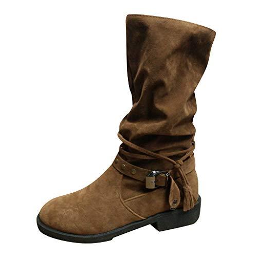Stiefel Frauen Mode Herde Komfortable Quaste Niedriger Absatz Seitlicher Reißverschluss Schuh Mitte (39,Khaki)
