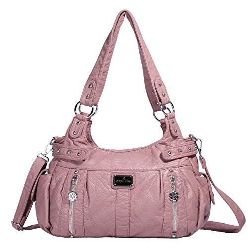 KL928 Damen Handtasche Lässige Schultertasche Umhängetaschen Hobo Taschen Henkeltaschen Leder für Arbeit Schule Shopper Rot (AK19244-3-pink)