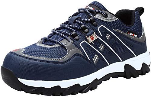 LARNMERN Sicherheitsschuhe Arbeitsschuhe Herren, Sicherheit Stahlkappe Stahlsohle Anti-Perforations Luftdurchlässige Schuhe, Blau L1032, 44 EU