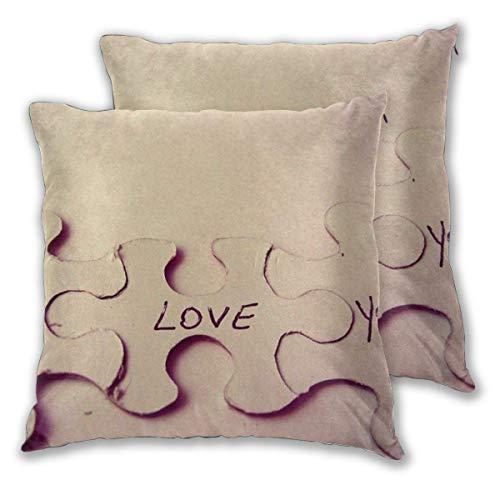 AEMAPE Quadratische Kissenbezüge, Love Jigsaw Puzzle 2er Pack Dekorative Kissenbezüge Kissenbezüge für Sofa Schlafzimmer Auto 40X40 cm