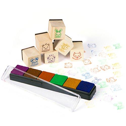Purovi Lehrer Stempel Set aus Holz / Belobigungs Stempel für Pädagogen / Tierbilder und motivierende Sprüche / Klassenarbeiten & Hausaufgaben