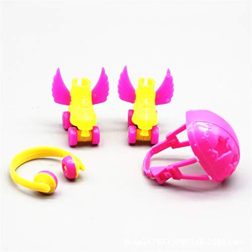 WOWOWO 4Pcs Rollschuh Set Puppenschuhe + Headset + Helm Für 1/6 Puppen Zubehör Kinder Mädchen Spielzeug Rollenspiel